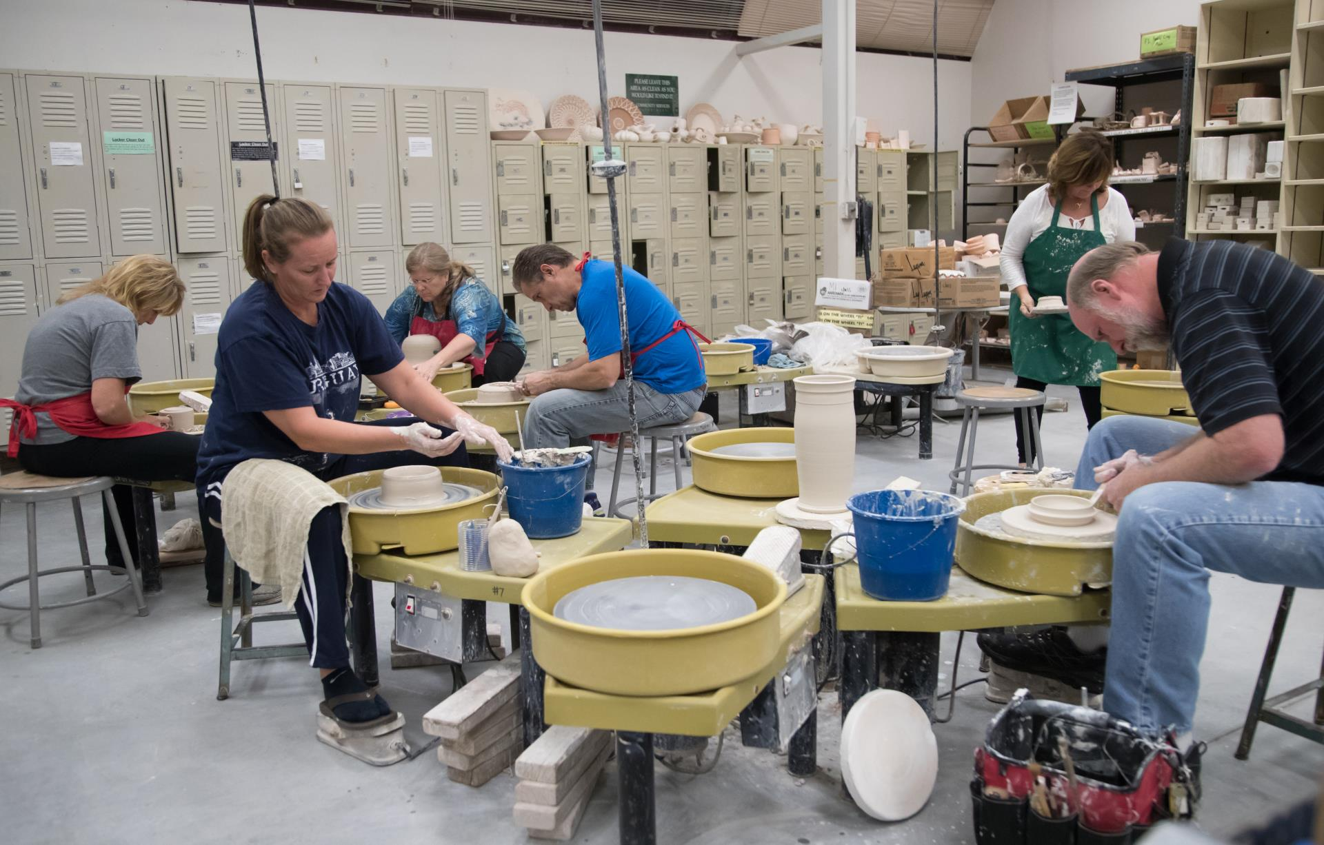 People working on ceramics in the ceramics Studio